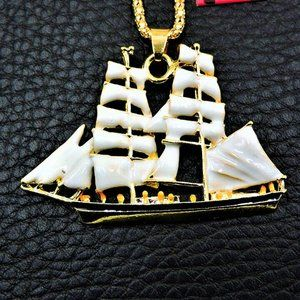 Jewelry - NEW White Enamel Sailboat Pendant Necklace